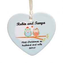 Christmas Owl Couple Ceramic Heart - Personalised Christmas Tree Decoration